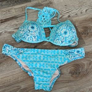Floral crochet swim suit